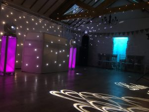Devon DJ White Exclusive Wedding DJ setup including White Backdrop and HK Actor DX Sound System at Bickley Mill Inn Kingskerswell