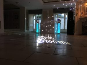 Devon DJ White Premium setup including Bride and Groom Projection and HK Actor DX Sound System