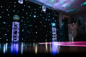 Devon DJ Ultimate Wedding DJ setup including Black Backdrop and custom Gobo Projection at The Royal Seven Stars Hotel Totnes