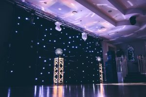 Devon DJ Ultimate Wedding DJ setup including Black Backdrop and custom Gobo Projection