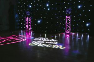 Devon DJ Wedding Setup inc Backdrop and Bride Groom Projection