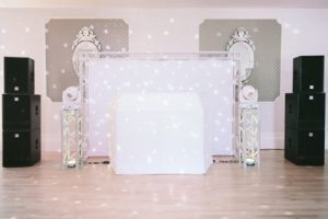 Devon DJ Wedding DJ setup including White Backdrop